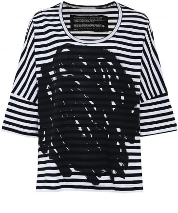 Striped Scribble Print T-shirt