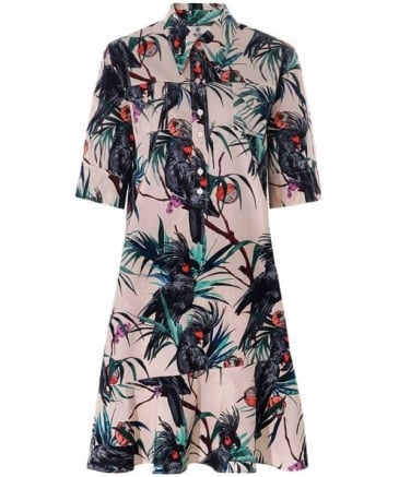 Cockatoo Print Cotton Dress