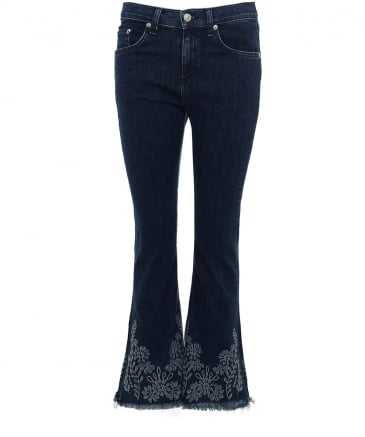 Embroidered Crop Flare Jeans