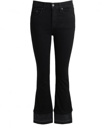 Cropped Contrast Flare Jeans