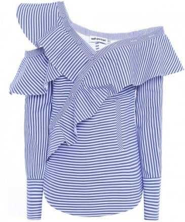 Striped Asymmetric Frill Shirt