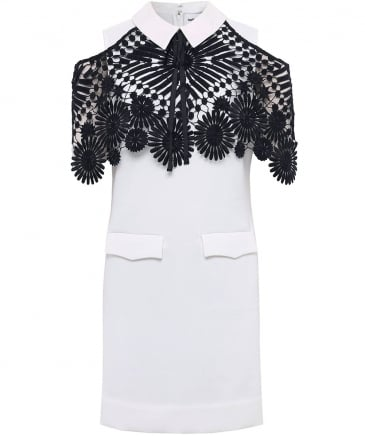 Monochrome Lace Cape Mini Dress