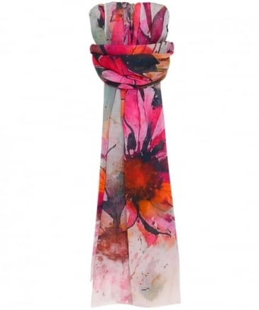 Washed Floral Print Scarf