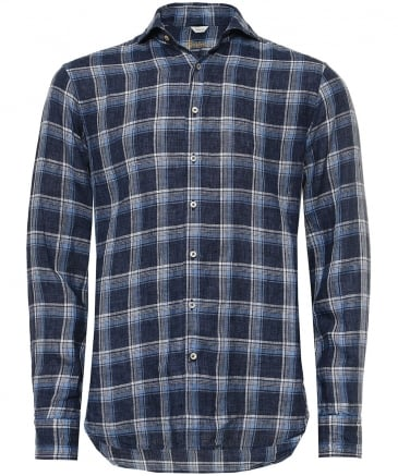 Fitted Linen Check Shirt
