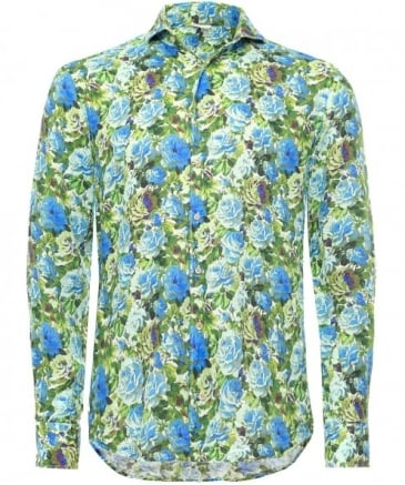 Fitted Linen Floral Shirt