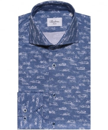 Slimline Racing Car Print Shirt
