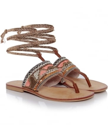 Beaded Ankle Tie Sandals