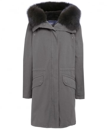 Cotton Canvas Fur Lined Parka